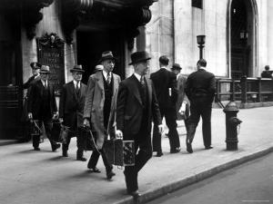 Chain Gang of New York Stock Exchange Carrying Traded Securities to Banks and Brokerage Houses by Carl Mydans