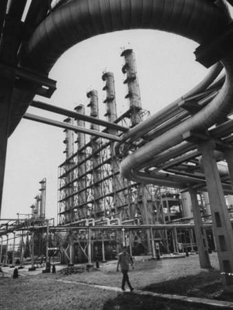 Fraction Plant Industry of Oil Refinery by Carl Mydans