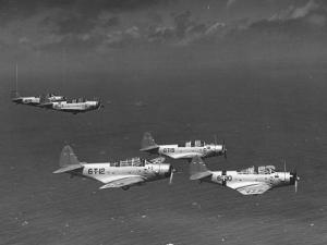 Group of Us Navy Bombers Flying in Formation by Carl Mydans