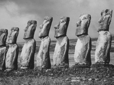 Mysterious Stone Statues on Easter Island by Carl Mydans