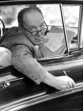 Novelist Vladimir Nabokov Looking Out of Car Window, Likes to Work in the Car by Carl Mydans