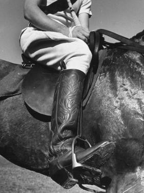 Polo Player Wearing Intricately Tooled Boots by Carl Mydans
