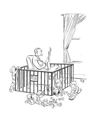 Man is seeking refuge from his children inside their playpen. - New Yorker Cartoon