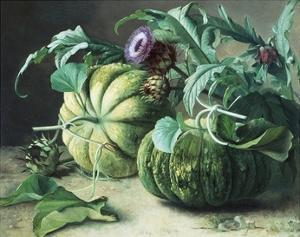 A Still Life of Pumpkins and Artichokes by Carl Vilhelm Balsgaard
