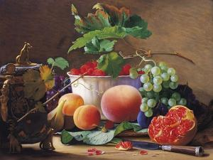 Still Life of Peaches, Pomegranates and Raspberries by Carl Vilhelm