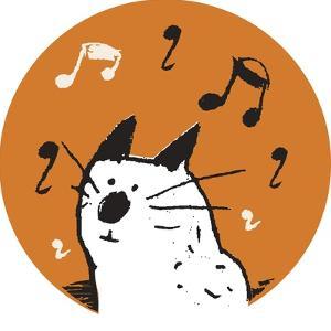 Orange Music Cat by Carla Martell