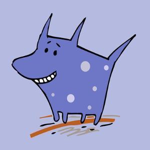 Purple Polka Dot Dog by Carla Martell