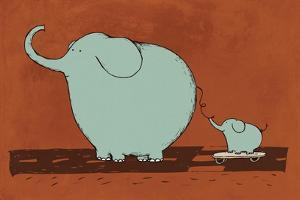 Skateboard Elephant by Carla Martell