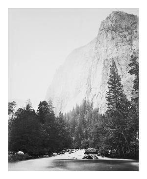 Outline - Cathedral Rock - Yosemite by Carleton E Watkins