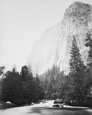 Outline - Cathedral Rock - Yosemite by Carleton E Watkins