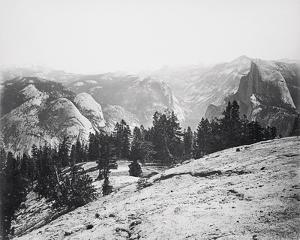 The Domes from the Sentinel Dome, Yosemite by Carleton E Watkins