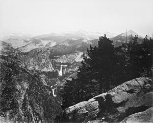 Vernal and Nevada Fall from Glacier Place, Yosemite by Carleton E Watkins