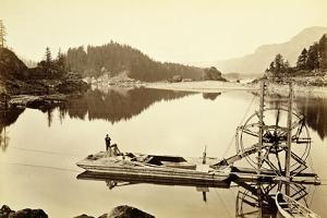 Floating Salmon Wheel, Cascades, 1867 by Carleton Emmons Watkins