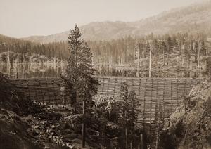 Dam and Lake, Nevada County, California, Near View, about 1871 by Carleton Watkins