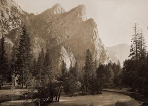 Further Up the Valley, The Three Brothers, the highest, 3,830 ft., Yosemite, California, 1866 by Carleton Watkins