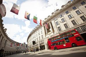 Street Near Piccadilly Circus in London, England with Double Decker Bus by Carlo Acenas