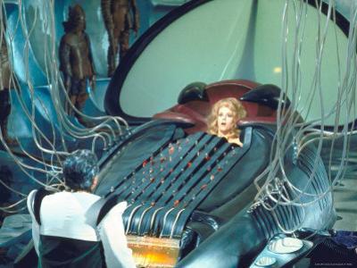 "Actress Jane Fonda trapped in Machine which kills during scene from Roger Vadim's ""Barbarella"" by Carlo Bavagnoli"