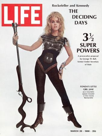 """Actress Jane Fonda Wearing Space-Age Costume for Role in """"Barbarella"""", March 29, 1968"""