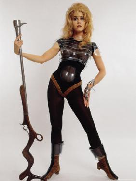 "Actress Jane Fonda Wearing Space Age Costume for Title Role in Roger Vadim's Film ""Barbarella"" by Carlo Bavagnoli"