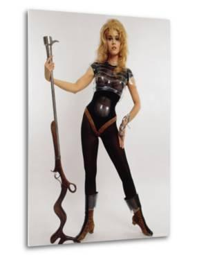 "Actress Jane Fonda Wearing Space Age Costume for Title Role in Roger Vadim's Film ""Barbarella"" by Carlo Bavagnoli"