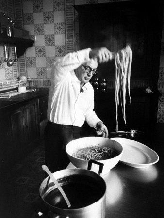 Film-Maker Dino de Laurentis Making Pasta