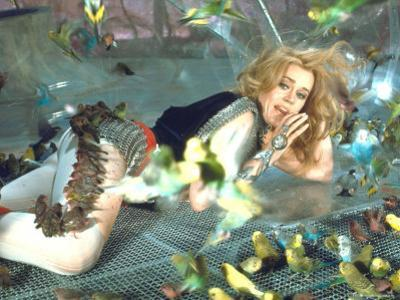 """Jane Fonda is Preyed Upon by Parakeets and Finches in Scene from Roger Vadim's """"Barbarella"""" by Carlo Bavagnoli"""
