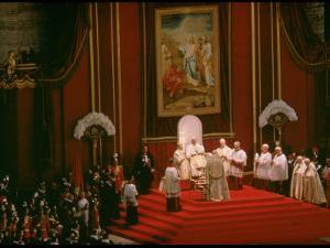 Pope Paul Conducting Opening Ceremonial Mass of 2nd Vatican Council, St. Peter's Basilica by Carlo Bavagnoli