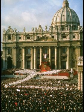 Pope Paul VI in Front of St. Peter's During 2nd Vatican Council by Carlo Bavagnoli