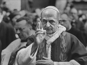 Pope Paul Vi, Officiating at Ash Wednesday Service in Santa Sabina Church by Carlo Bavagnoli