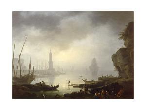 Harbour Scene at Sunset by Carlo Bonavia