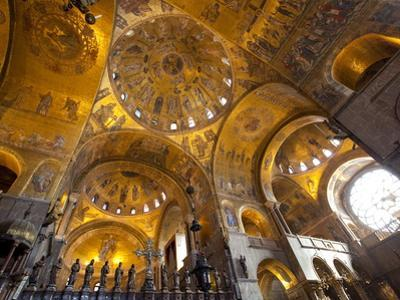 Gold Mosaics on the Dome Vaults of St. Mark's Basilica in Venice, Veneto, Italy, Europe