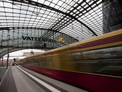 Train Leaving Berlin Hauptbahnhof, the Main Railway Station in Berlin, Germany, Europe