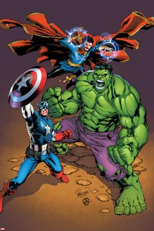 Marvel Adventures Super Heroes No.21 Cover: Captain America, Hulk, and Dr. Strange Posing by Carlo Pagulayan