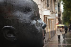 Carmen Awake street sculpture by Antonio Lopez, Bilbao, Biscay Province, Basque Country Region,...