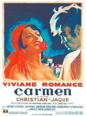 Carmen, French poster, Viviane Romance, Jean Marais, 1945