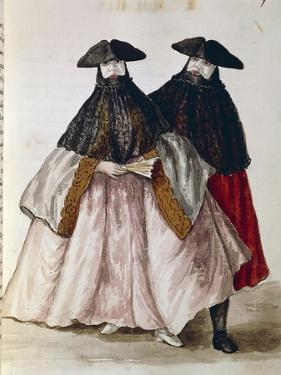 Carnival Characters in Venice from Illustrated Book of Venetian Costumes