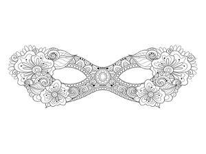 Carnival Floral Mask Coloring Art