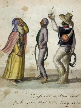 Carnival Scene, Watercolour by Ramon Salas, Ecuador, 19th Century