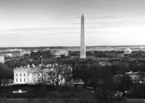 Dawn over the White House, Washington Monument, and Jefferson Memorial, Washington, D.C. - Black an by Carol Highsmith