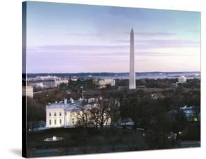 Dawn over the White House, Washington Monument, and Jefferson Memorial, Washington, D.C. - Vintage by Carol Highsmith