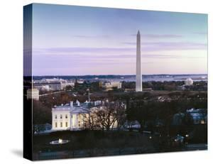 Dawn over the White House, Washington Monument, and Jefferson Memorial, Washington, D.C. by Carol Highsmith