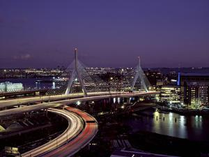 Leonard P. Zakim Bridge at Night by Carol Highsmith