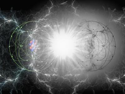 Artist's Interpretation of Matter - Antimatter Collision by Carol & Mike Werner