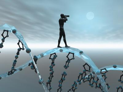 Biomedical Illustration of a Male Human Likeness Standing on a DNA Strand Peering into the Future by Carol & Mike Werner