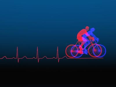 Biomedical Illustration of Exercise (Bicycling) and a Healthy Heart Ekg by Carol & Mike Werner