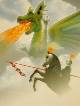 Businessman-Knight Fighting Dragon by Carol & Mike Werner