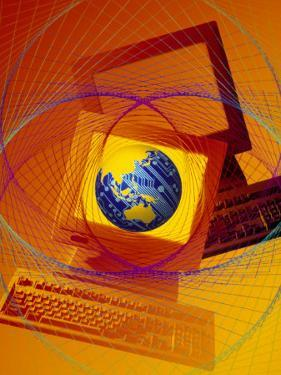 Globe on Computer Monitor by Carol & Mike Werner