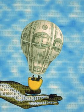 Hand with Financial Hot Air Balloon and Binary Code by Carol & Mike Werner