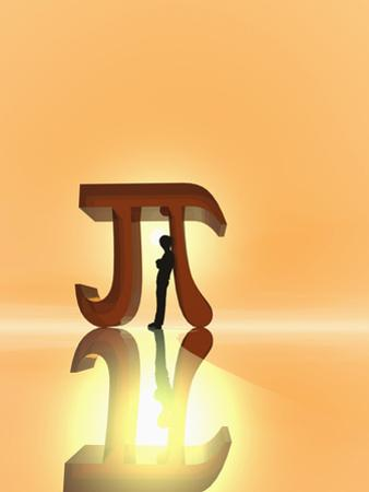 Illustration of a Boy Leaning Against a Mathematical Symbol for Pi by Carol & Mike Werner