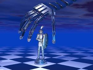 Illustration of a Robotic Hand Preparing to Move a Chess Piece by Carol & Mike Werner